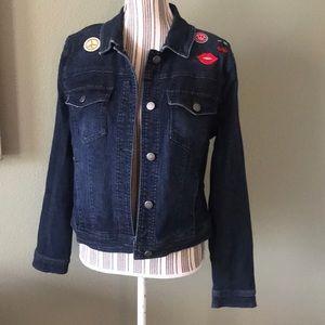 Jean jacket, good stretch, cherries, lips, peace
